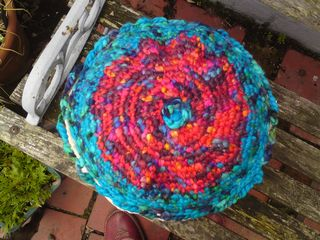 Circular crochet cushion